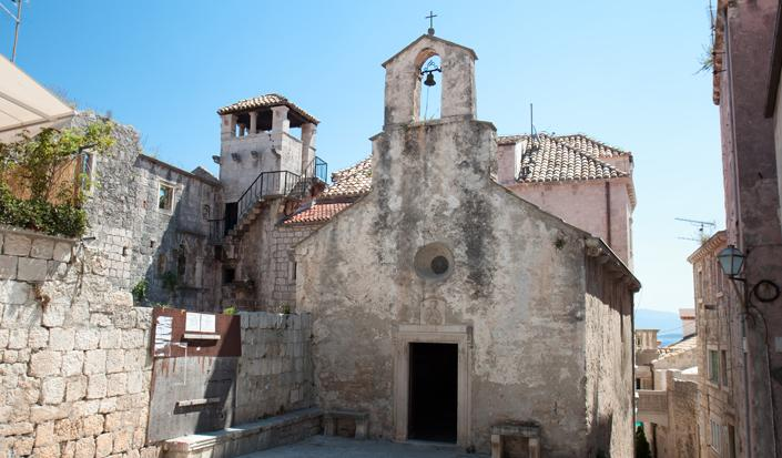 Marco Polo house and church on the island of Korcula