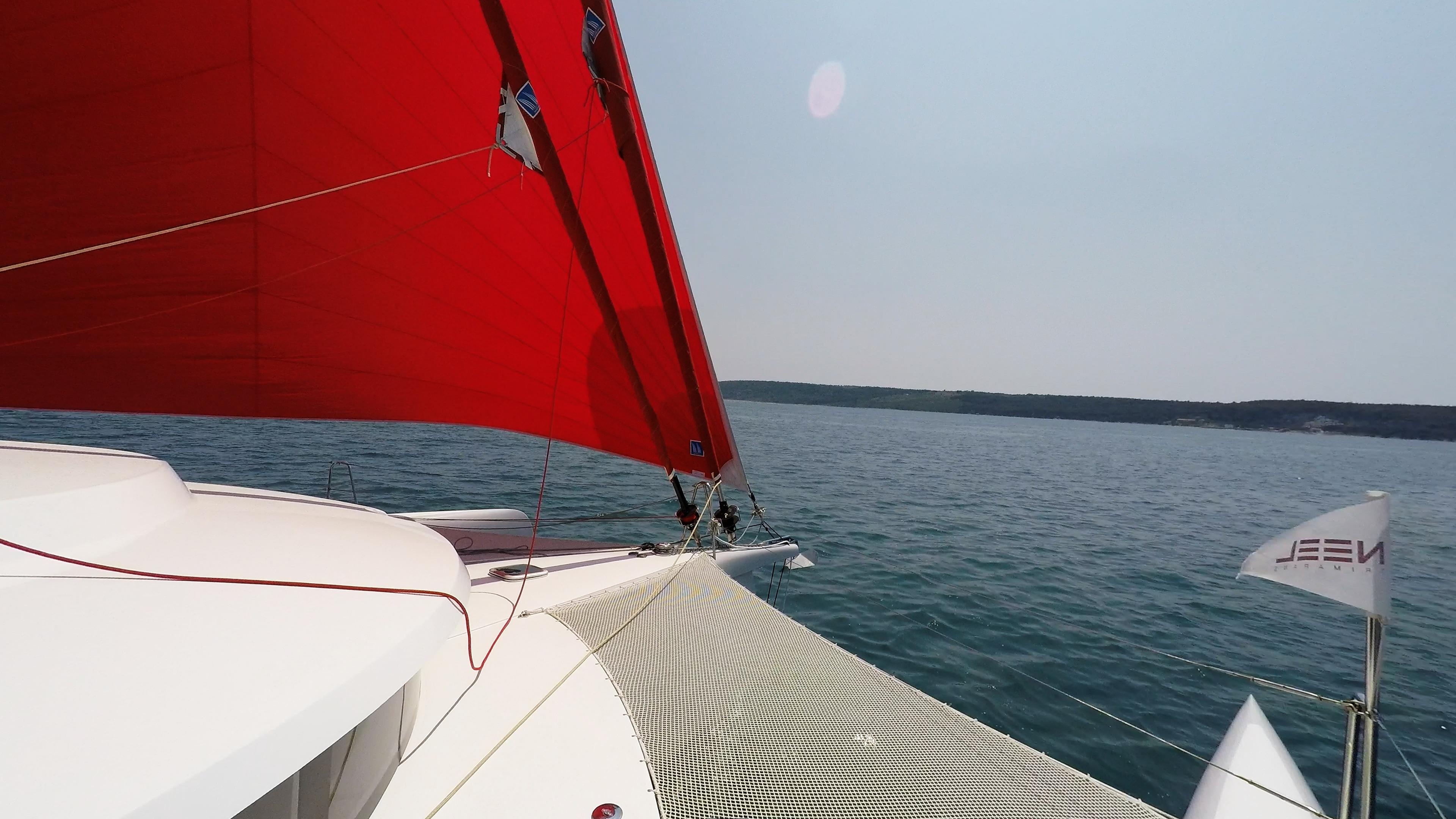 neel 45 prua trimarano yacht vela gennaker