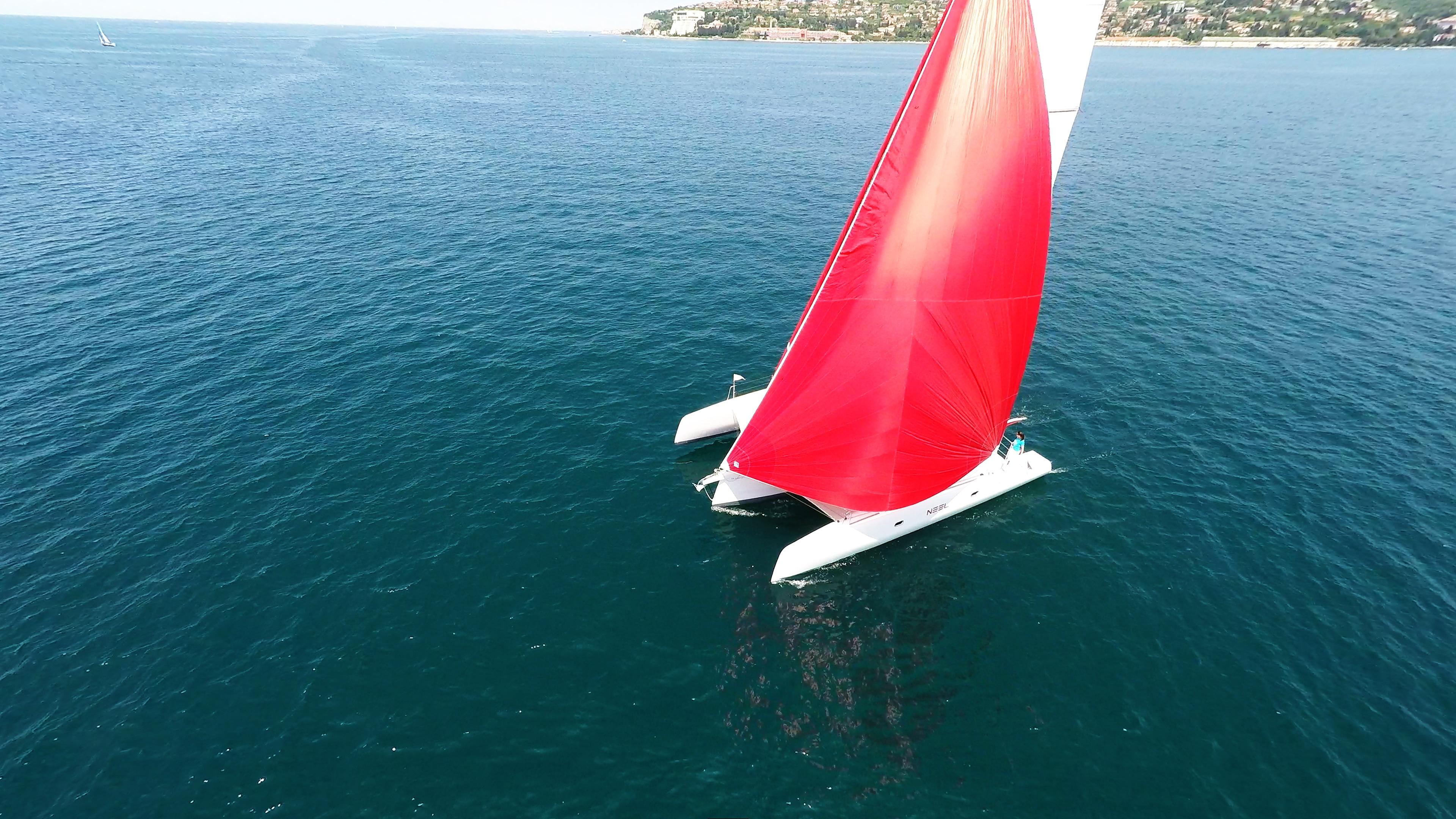 rosso gennaker neel 45 trimarano yacht a noleggio