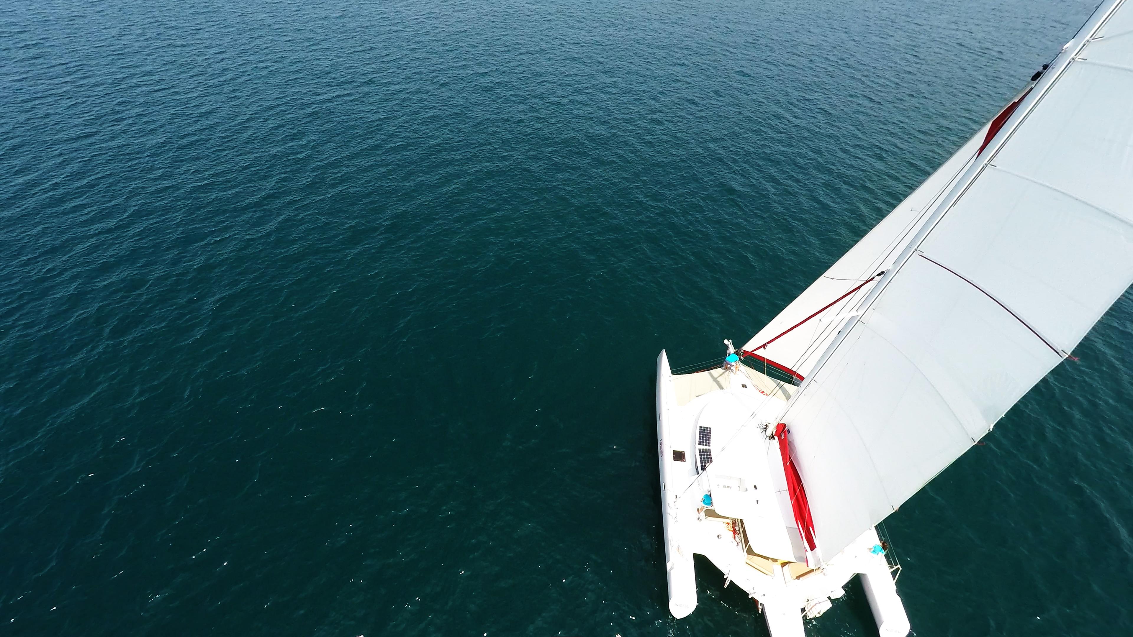 multiscafo a vela dall'alto
