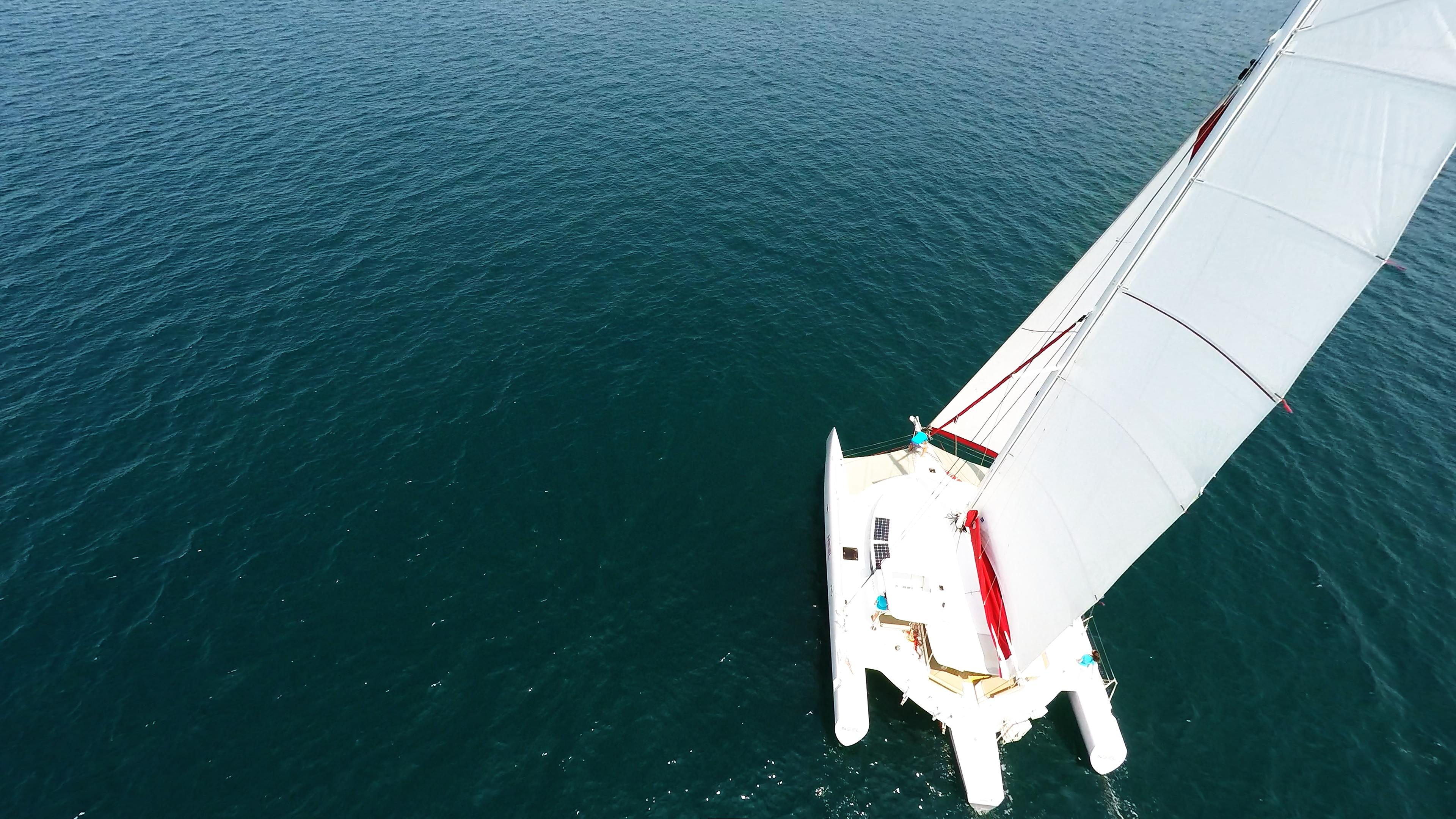 yacht trimarano randa dall'alto