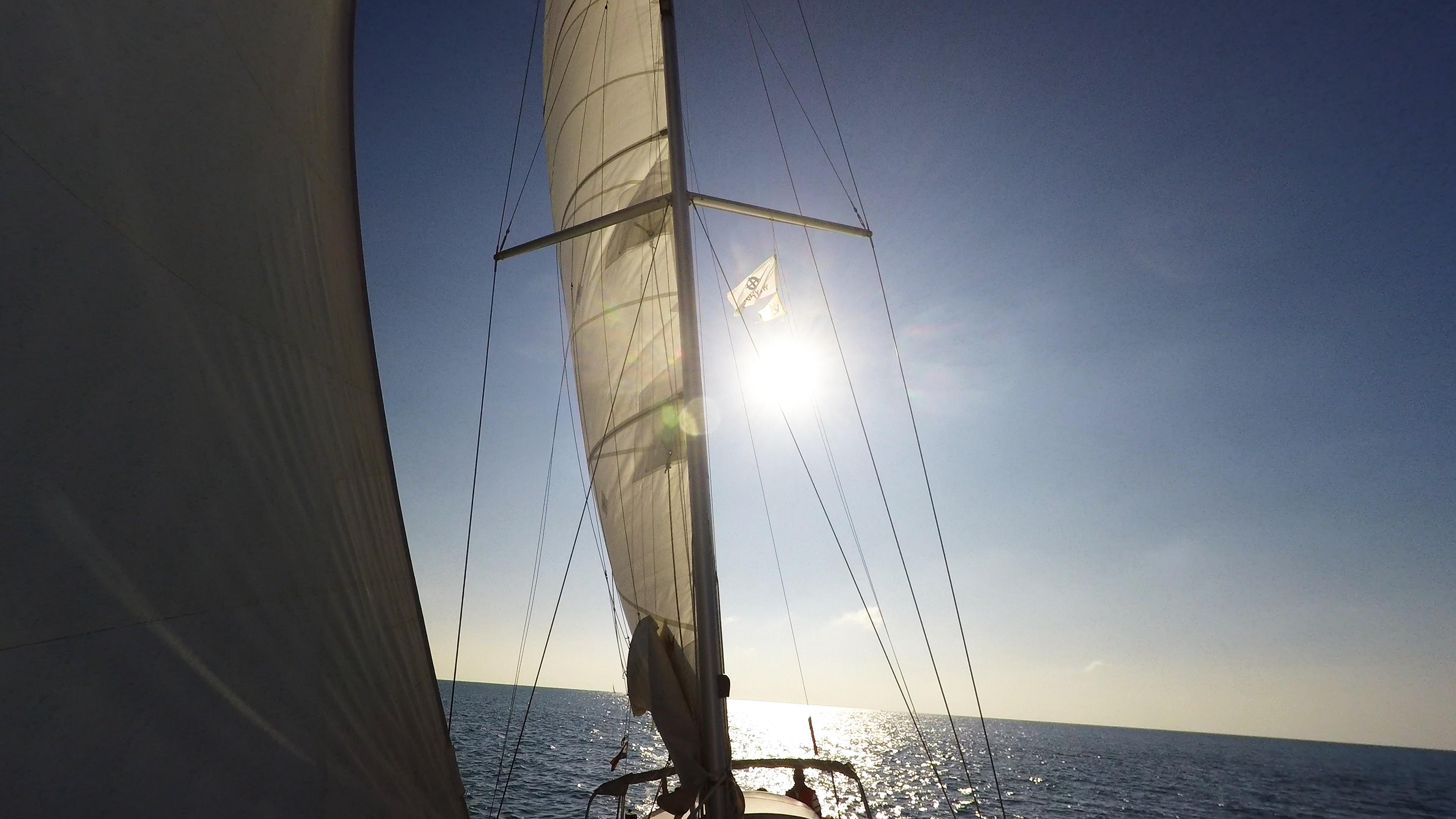barcha a vela vele albero yacht a vela sole