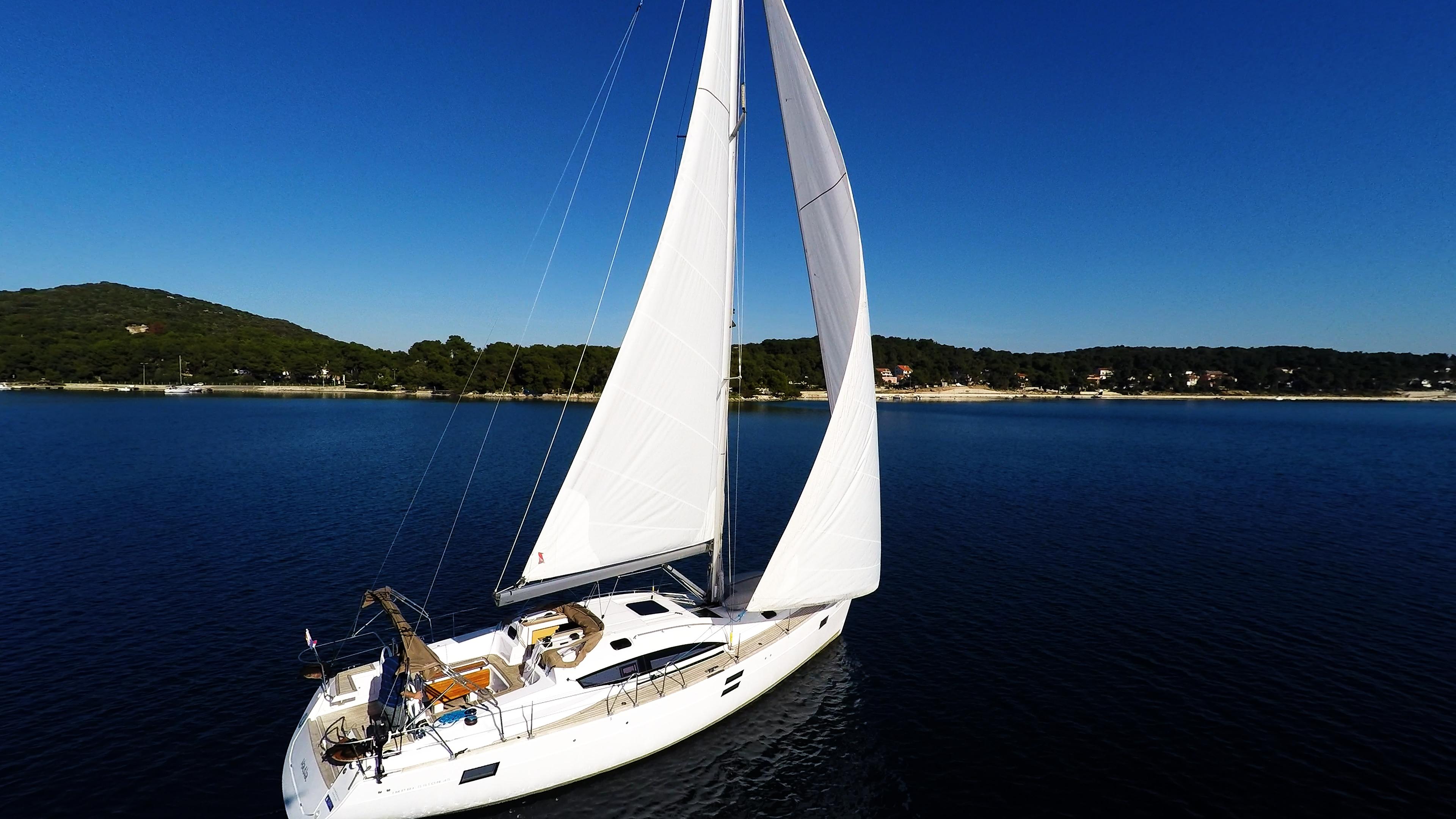 barcha a vela vele yacht a vela elan 45 impression vela cielo blu