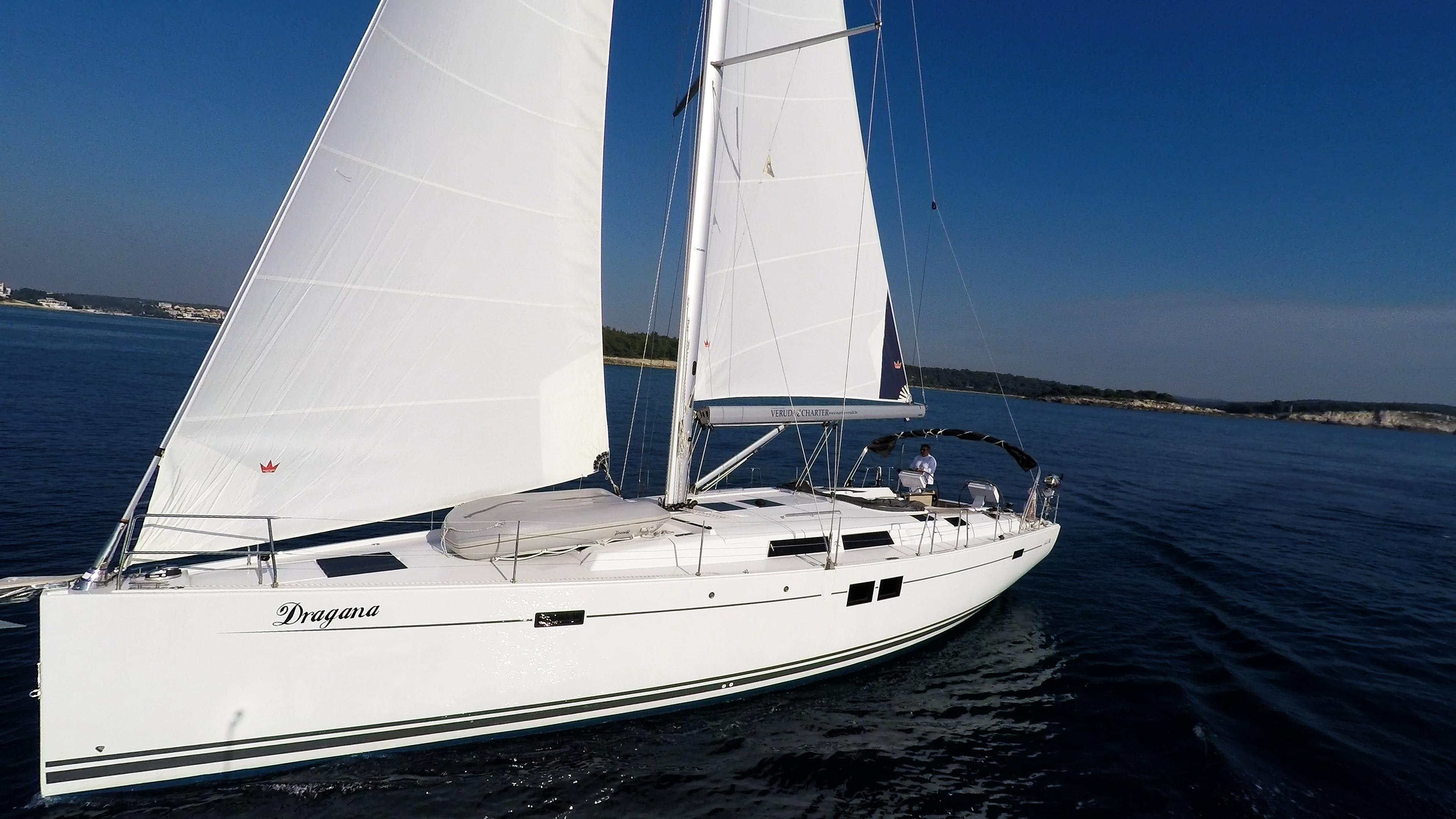 barcha a vela Hanse 505 scafo vele veleggiare cielo blu mare