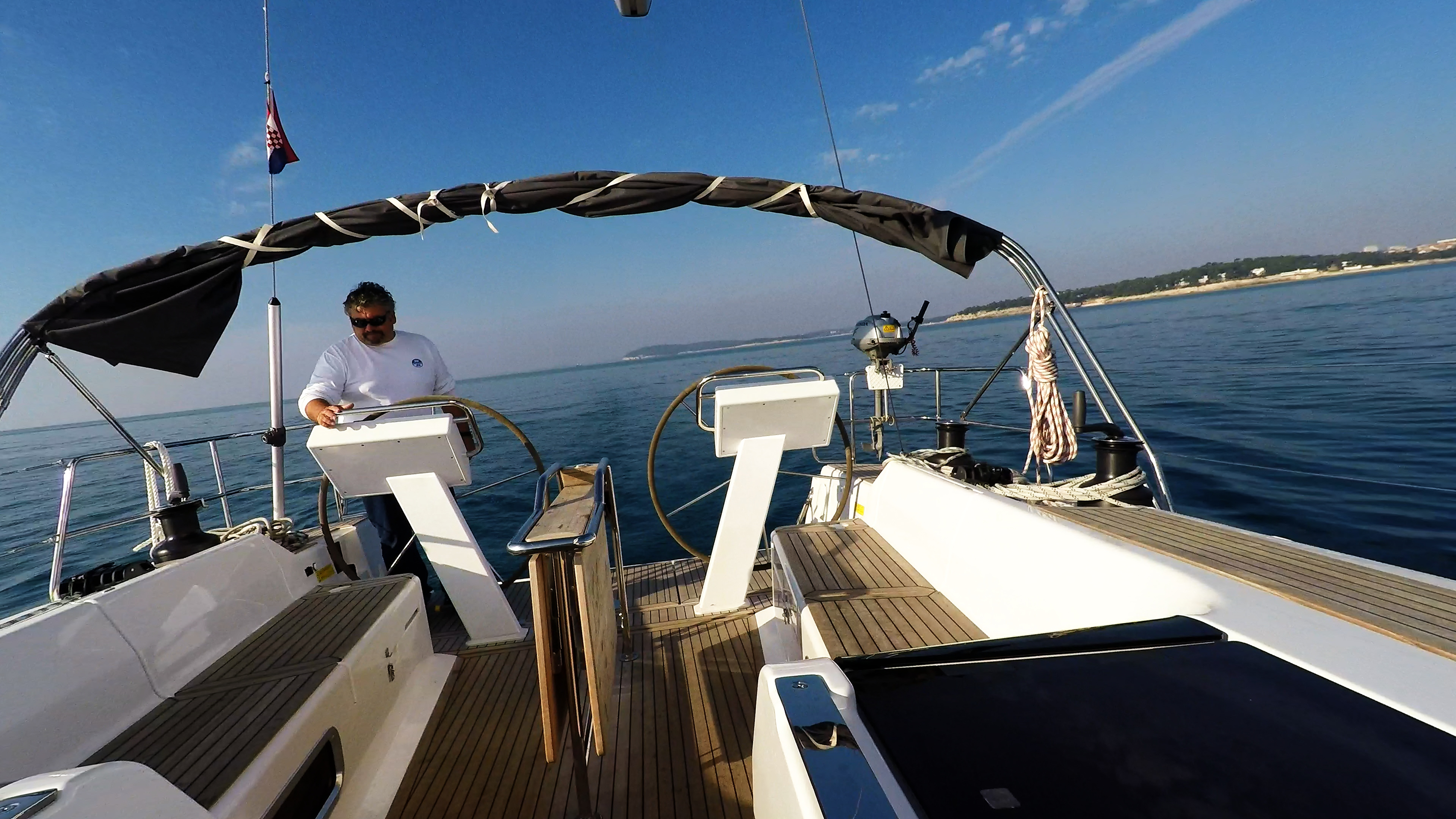 barcha a vela Hanse 505 barca a vela teak pozzetto doppie timoni ruota veleggiare
