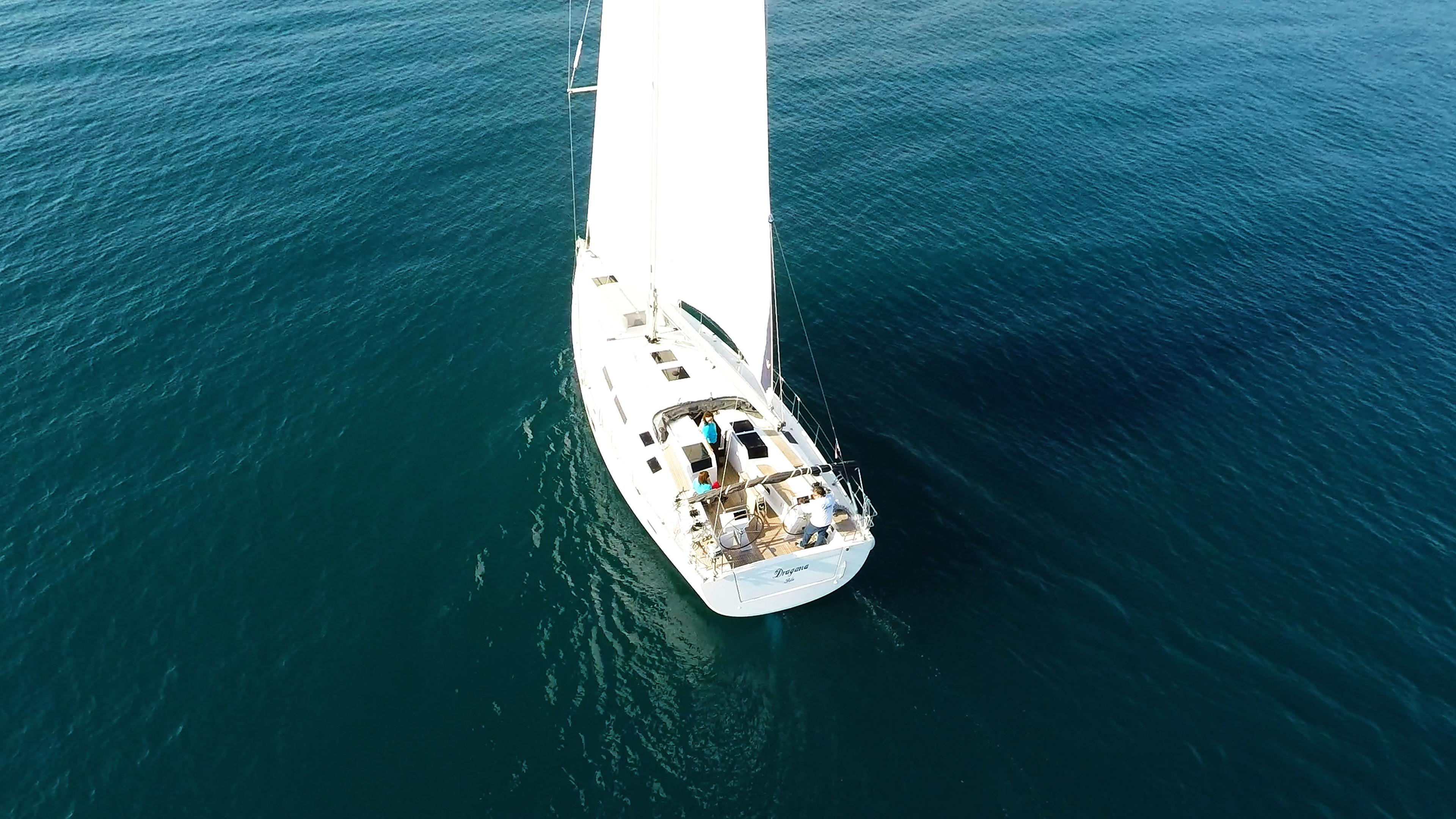 barcha a vela Hanse 505 yacht a vela aereo ponte pozzetto