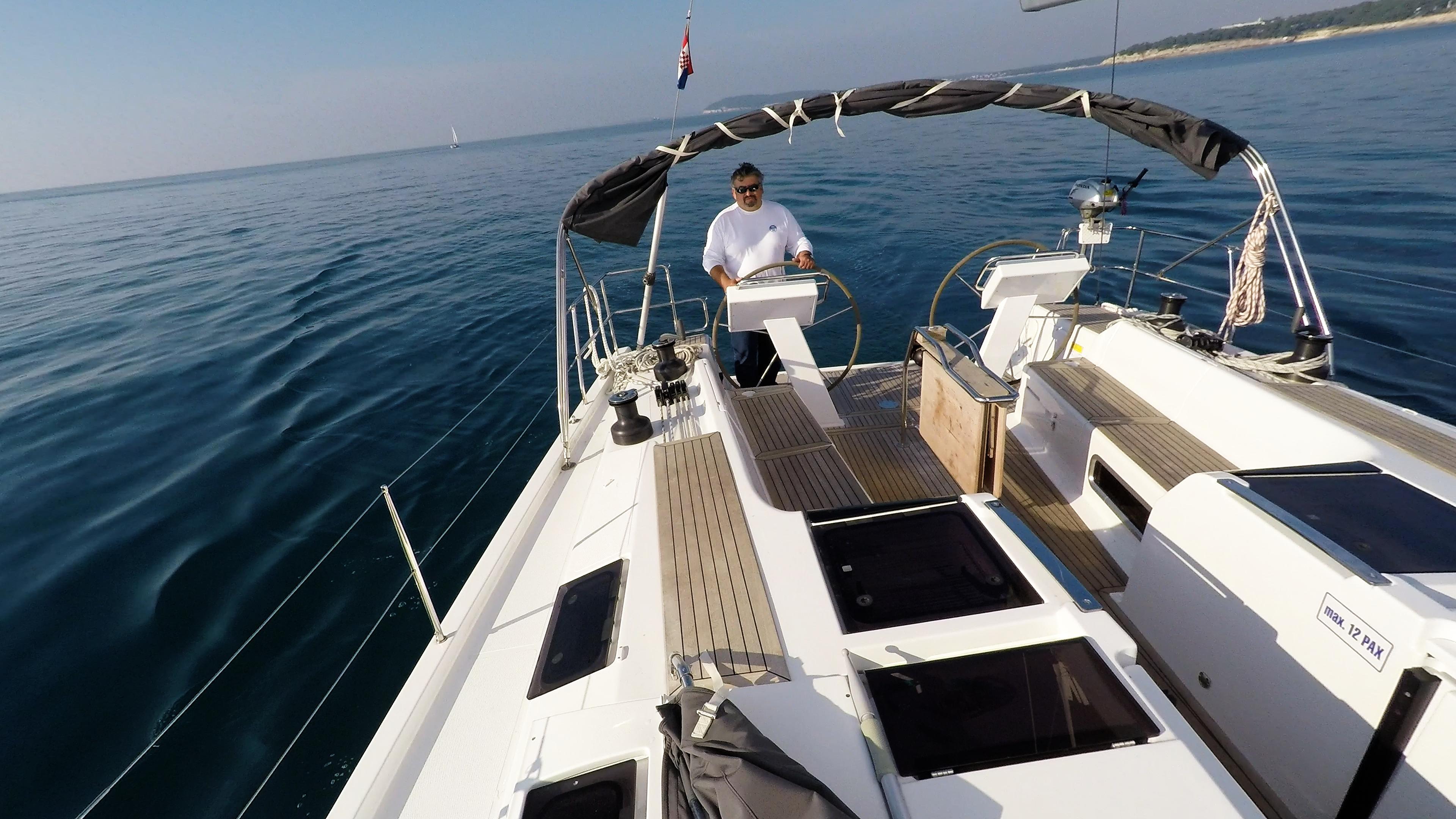 barcha a vela Hanse 505 skipper pozzetto timoni ruota doppio poppa ponte mare yacht a vela barca