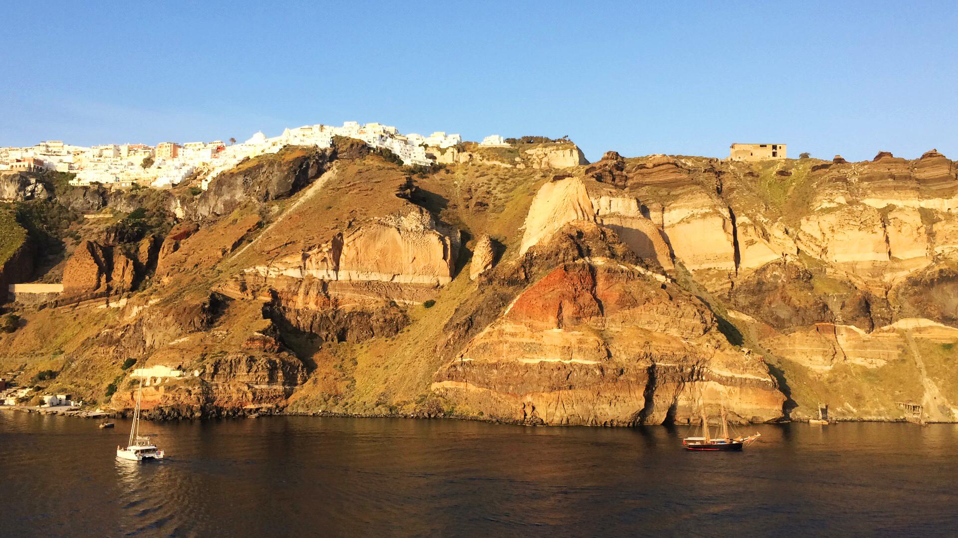 Santorini Grecia cielo blu costa del mare isola barche