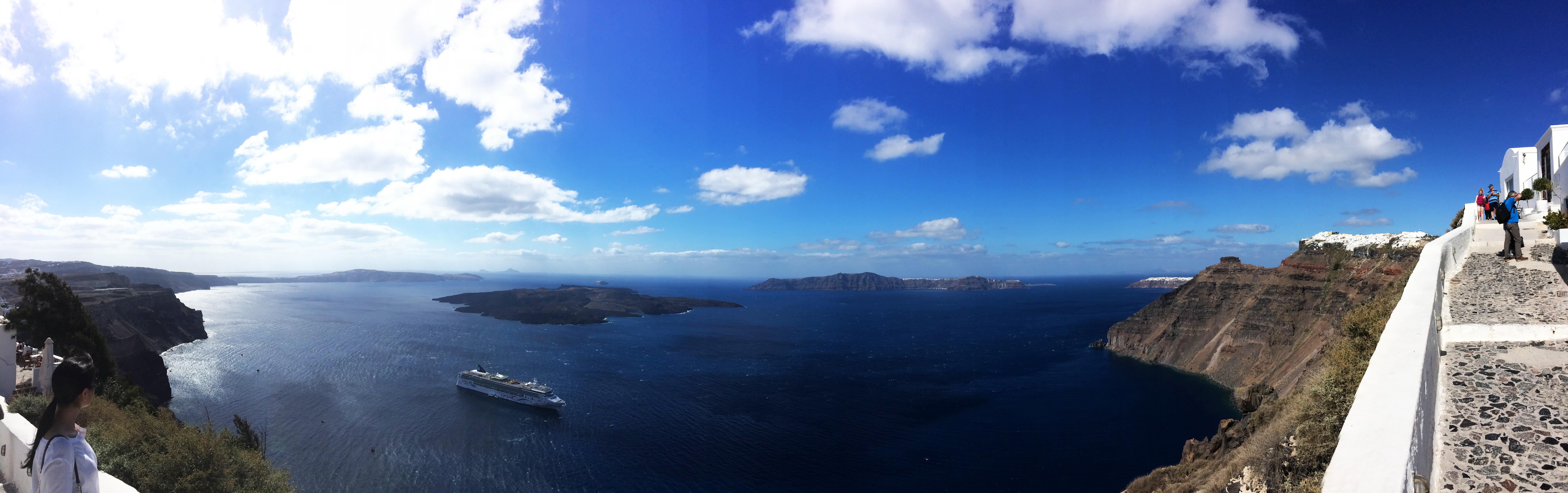 nave nave da crociera Santorini Grecia isole del mare panorama paesaggio